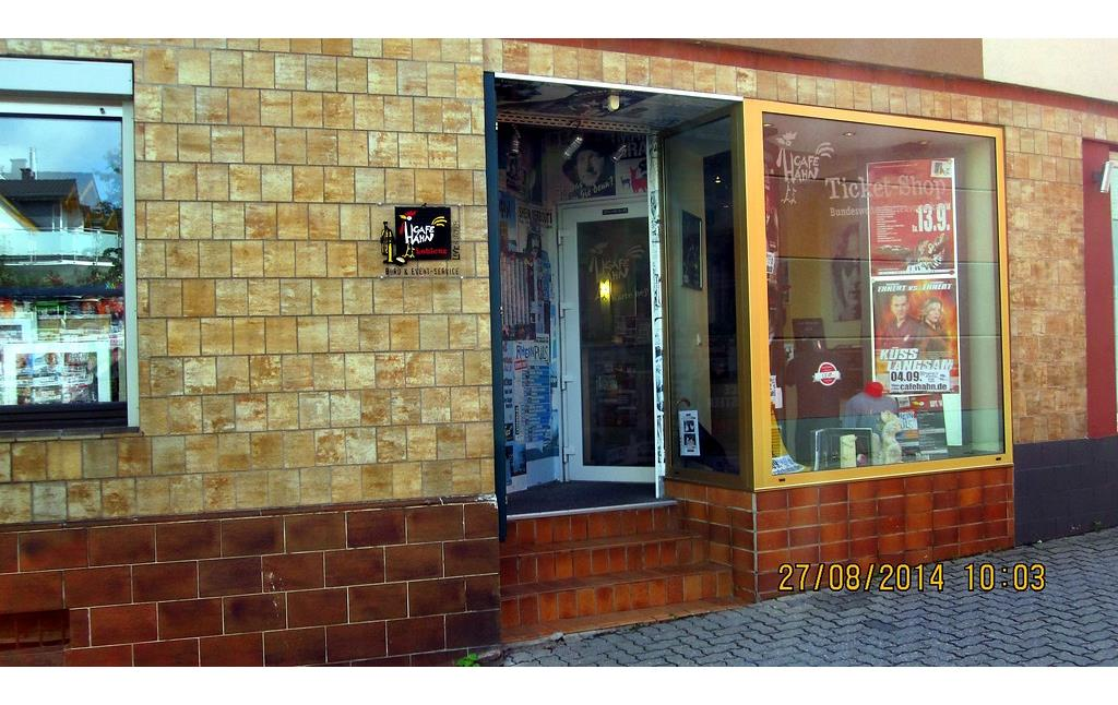 Der Ticket-Shop des Café Hahn in Koblenz-Güls (2014).