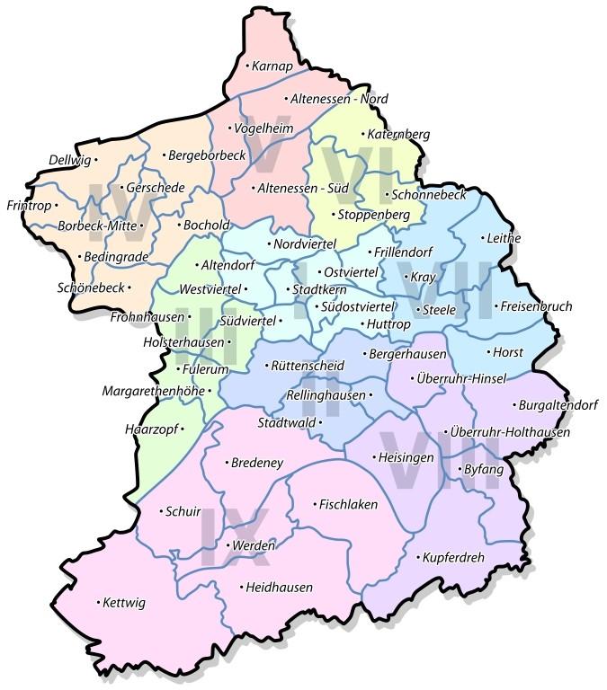 karte essen Stadtbezirke und Stadtteile in Essen | Objektansicht