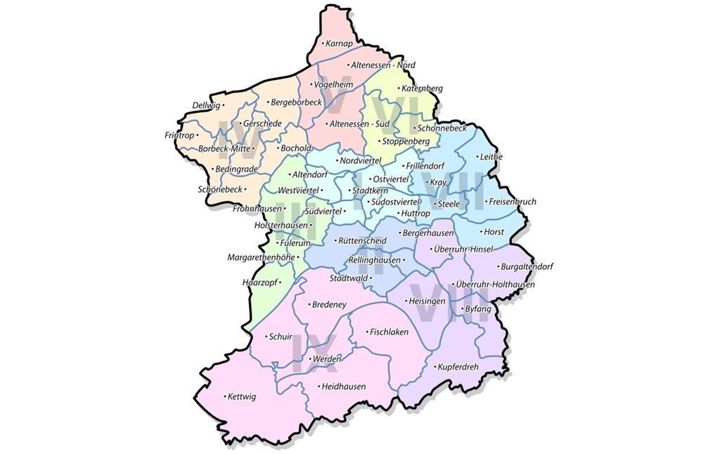 Düsseldorf Stadtteile Karte.Stadtbezirke Und Stadtteile In Essen Objektansicht