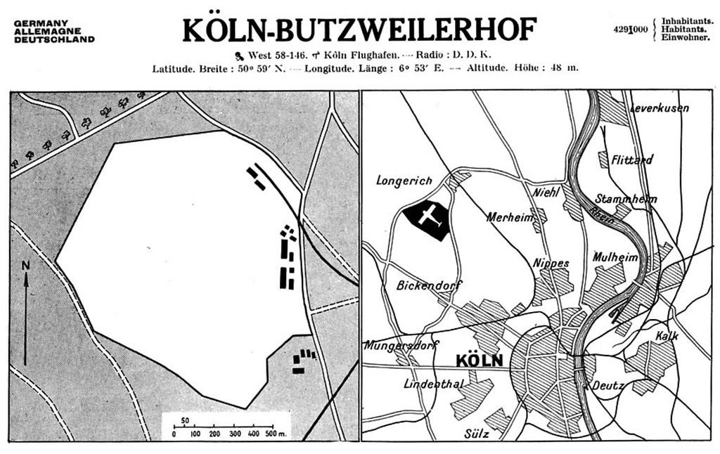 "Lageplan und Kurzbeschreibung des Flugplatzes Köln-Butzweilerhof im Internationalen Flughandbuch von 1931, ""International Air Guide: The reference book on civil and commercial aviation (Air atlas)"""