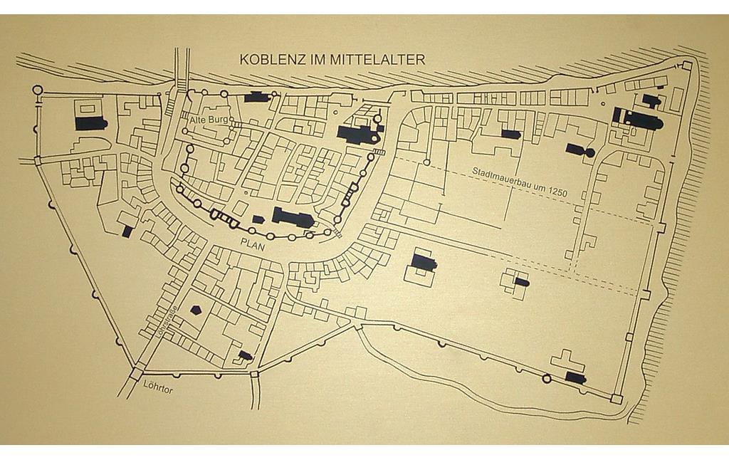 Karte Koblenz.Stadtteil Koblenz Altstadt Objektansicht